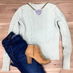 GAP Mint Chunky Cable Knit Sweater